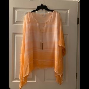 Cato Orange & White Striped Tunic w/Gold Chain 26W
